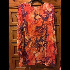 Lane Bryant Tops - Lane Bryant orange beaded long sleeve blouse